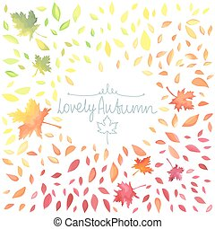 Autumn illustration with motley leaves. Watercolor imitation...