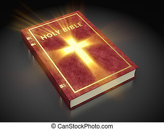 holy bible - 3d illustration of shining holy bible, over...
