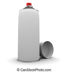 spray can - 3d illustration of blank spray can over white...
