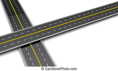crossroads - 3d illustration of two roads cross over white...