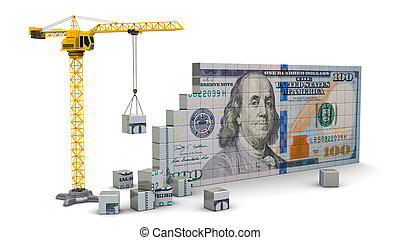 crane with dollars - abstract 3d illustration of crane...