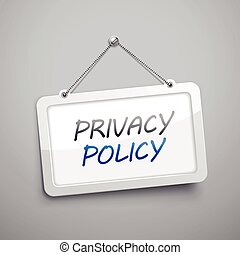 privacy policy hanging sign, 3D illustration isolated on...