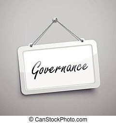 governance hanging sign, 3D illustration isolated on grey...