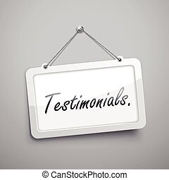 testimonials hanging sign, 3D illustration isolated on grey...