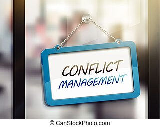 conflict management hanging sign, 3D illustration isolated...