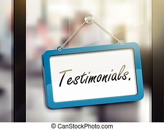 testimonials hanging sign, 3D illustration isolated on...
