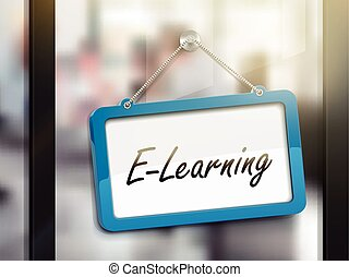 e-learning hanging sign