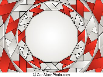 Abstract red grey corporate round pattern. Vector tech...