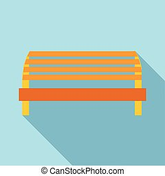 Kids playground bench icon, flat style - Kids playground...