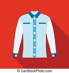 Blue female blouse icon, flat style - Blue female blouse...