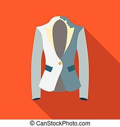 Jacket icon, flat style - Jacket icon in flat style isolated...