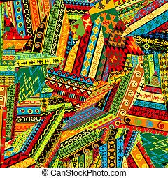patchwork, Padrão, arabescos, étnico
