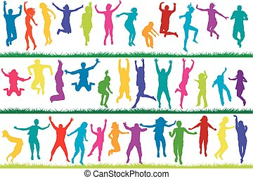 Collection of colored silhouettes jumping