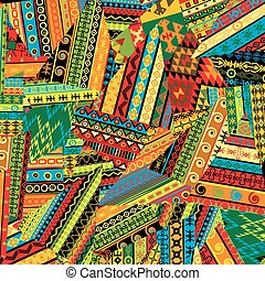 Patchwork pattern with ethnic motifs