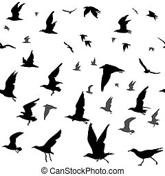 Birds silhouettes seamless - Seamless background with flying...