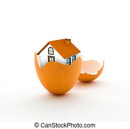 House in eggshell, home insurance