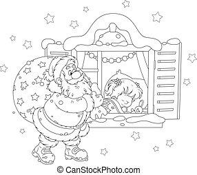 Santa with Christmas gifts - Santa Claus brought his holiday...