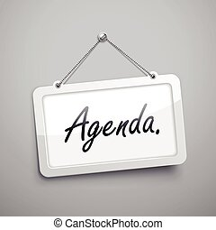 agenda hanging sign, 3D illustration isolated on grey wall