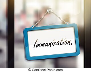 immunization hanging sign, 3D illustration isolated on...