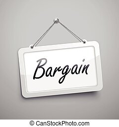 bargain hanging sign, 3D illustration isolated on grey wall