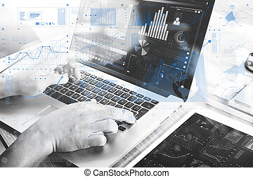 Businessman hand attending video conference with laptop...