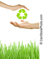 Environmental Protection - Hands male and female symbol of...