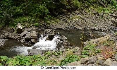 Small mountain river with cascades