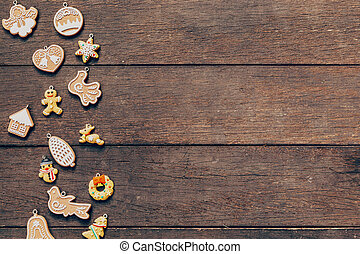christmas decoration on wood background with copyspace