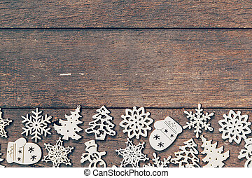 Wood christmas decoration on wood background with copyspace