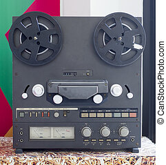 Vintage Analog Stereo Open Reel Tape Deck Recorder with large reels