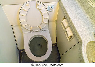 Aircraft lavatory toilets aboard a jetliner airplane . -...