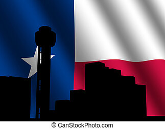 Reunion Tower Dallas with flag illustration - Reunion Tower...
