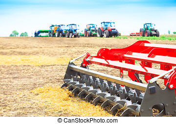 Agricultural cultivator close-up on the ground, farm...