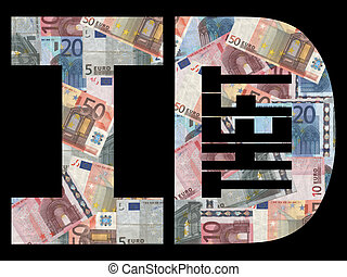 Identity theft with Euros - Identity theft text with Euros...