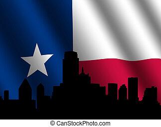 Dallas skyline with Texan flag - Dallas skyline with rippled...