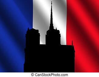 Notre Dame Paris and flag - Silhouette of Notre Dame Paris...