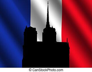 Notre Dame Paris and flag - Silhouette of Notre Dame Paris...