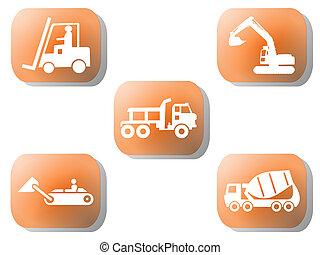 Orange construction buttons