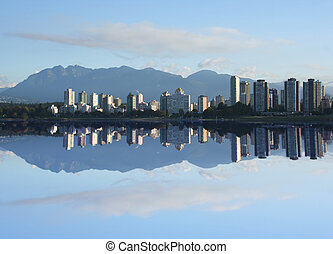 Vancouver Skyline reflected in English bay