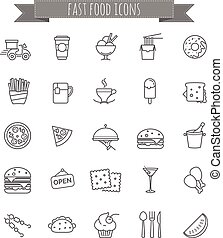 fast food icons - vector stock set for your design, web