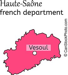Haute-Saone french department map on white in vector