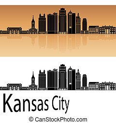 Kansas City V2 skyline in orange background in editable...