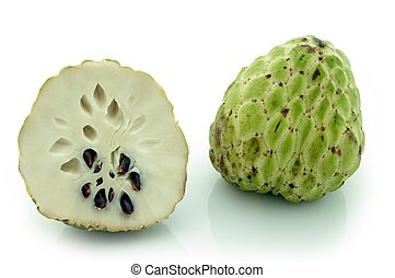 Custard-Apple Annona Squamosa Whole fruit and cross-section,...