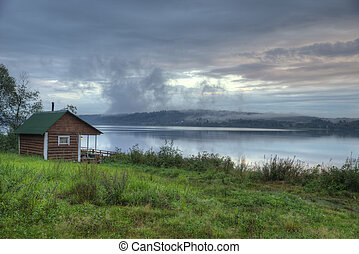 Finnish-Russian village sauna on the river bank - Vintage...