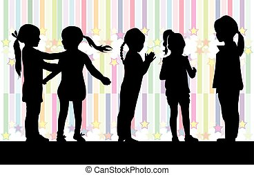 Black silhouettes of girls on a colored background.
