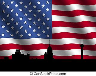 San Antonio skyline with flag - San Antonio skyline with...