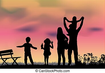 Silhouette of a happy family.