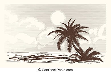 Vintage palm tree sketch. Vector palmtree ocean front in...