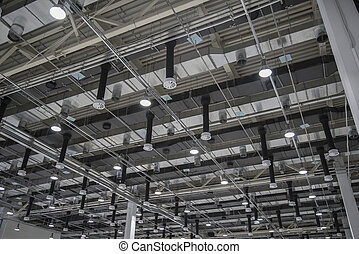 The ceiling air-conditioning of stadium or showroom roof