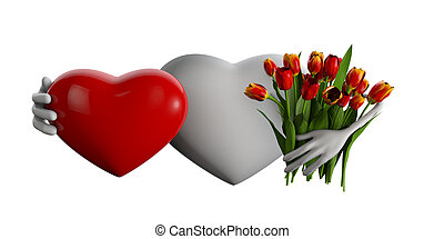 3d Illustration of heart with flowers